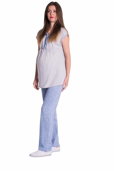 Těhotenské,kojící pyžamo - šedá/modrá, vel. L