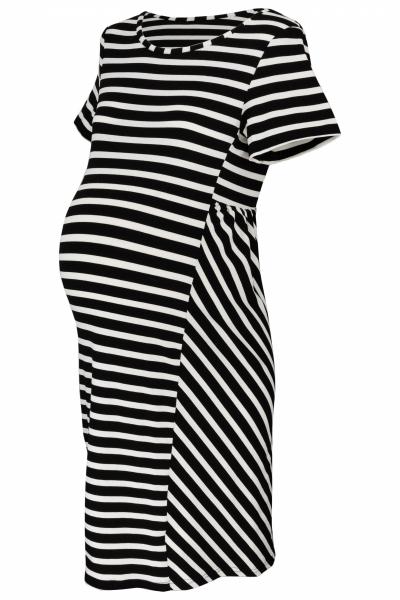 Be MaaMaa Těhotenské proužkované šaty s kr. rukávem - černá/ecru