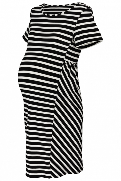 Be MaaMaa Těhotenské proužkované šaty s kr. rukávem - černá/ecru, vel. XXL