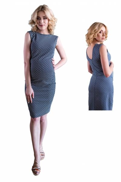 Těhotenské šaty ve sportovním stylu s velkým  výstřihem na zádech - jeans, vel. S