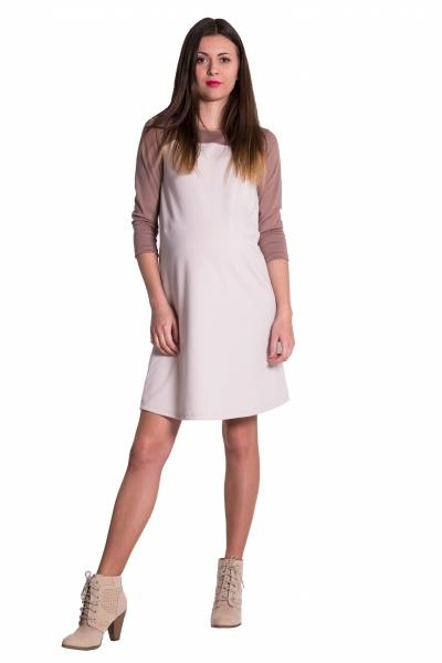 Be MaaMaa Těhotenské, dvoubarevné šaty s 3/4 rukávem - béžové, vel. M