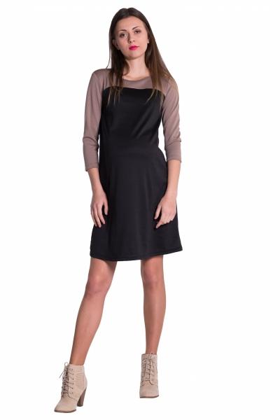 Be MaaMaa Těhotenské, dvoubarevné šaty s 3/4 rukávem - černé, vel. L
