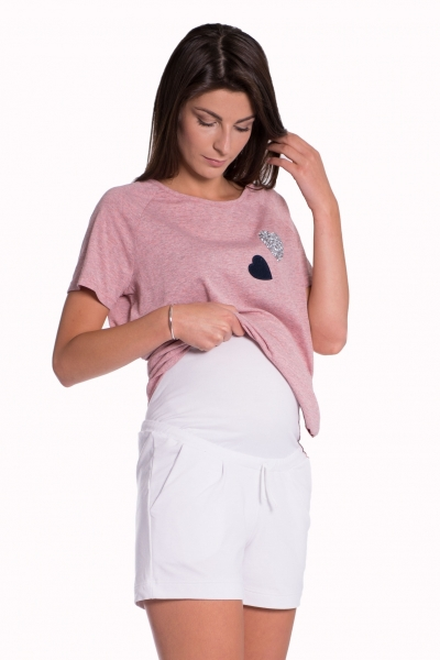 Be MaaMaa Těhotenské,bavlněné kraťasy s odpáratelným pásem - bílé, vel. M