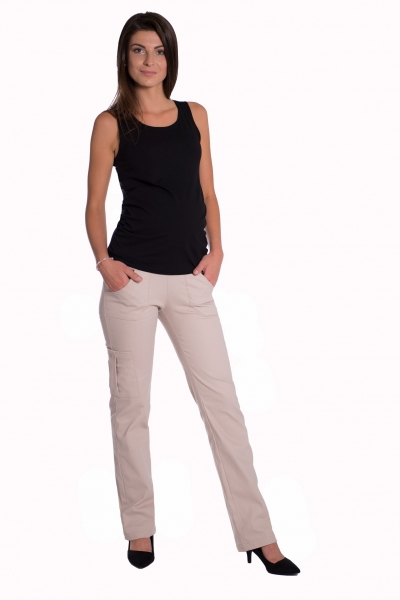 Bavlněné, těhotenské kalhoty s kapsami - béžové