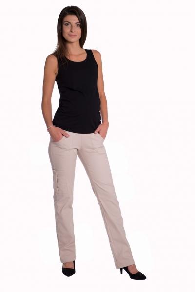 Bavlněné, těhotenské kalhoty s kapsami - béžové, vel. L