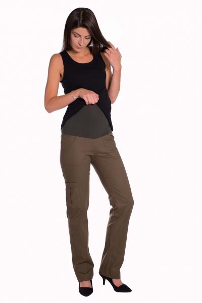 Be MaaMaa Bavlněné, těhotenské kalhoty s kapsami - béžové, vel. L