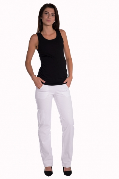 Be MaaMaa Bavlněné, těhotenské kalhoty s kapsami - bílé, vel. M