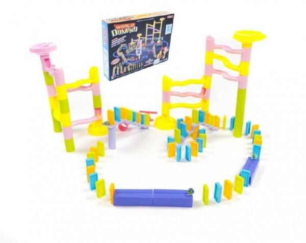 Kuličková dráha s dominem plast 285ks v krabici 45x35x8cm