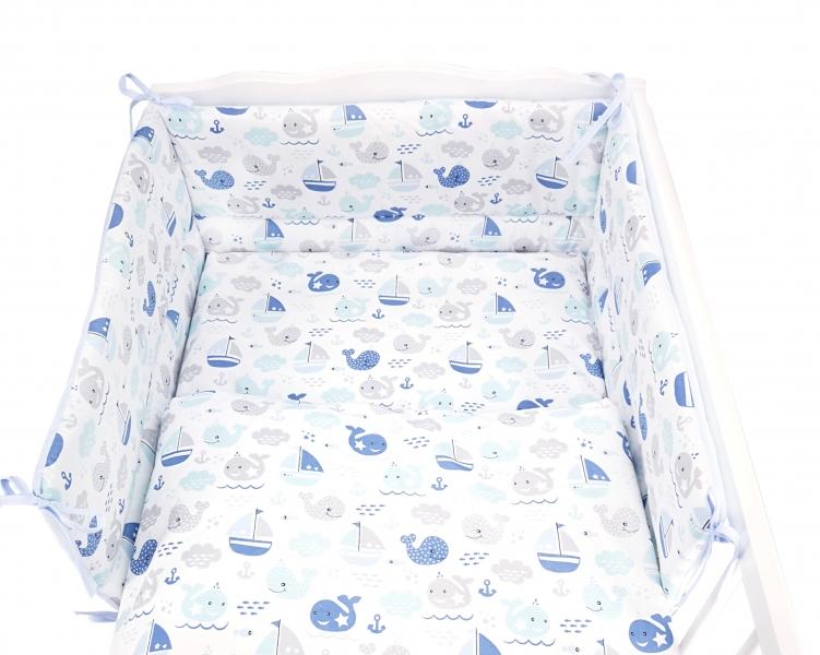Baby Nellys 3-dílná sada mantinel s povlečením Oceán Baby - modrá