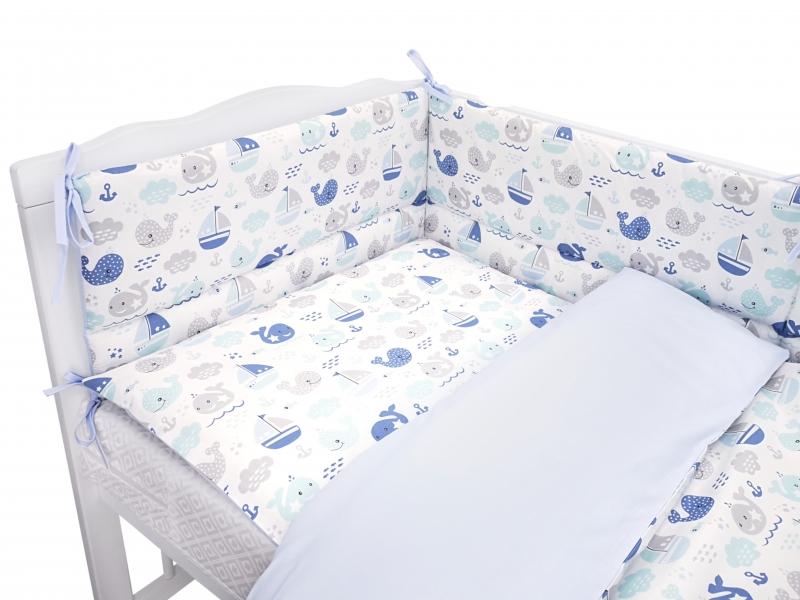 Baby Nellys 3-dílná sada mantinel s povlečením 135x100cm, Oceán Baby - modrá