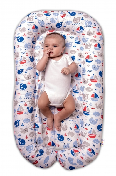 Baby Nellys Maxi oboustranné hnízdečko pro miminko Oceán Baby - modrý