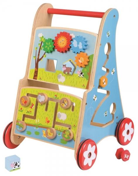 Lelin Edukační dřevěné chodítko, jezdítko - Rybník
