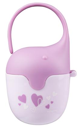BabyOno Pouzdro na dudlík Sloník - Srdíčko lila