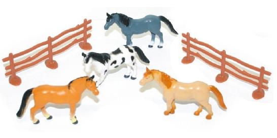 Koně s ohradou, 4 ks v sáčku