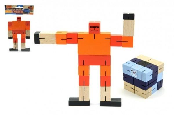 Kostka hlavolam robot dřevo 6cm modrá v sáčku