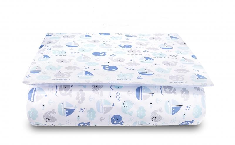 Baby Nellys 2-dílné bavlněné povlečení Oceán Baby - modré