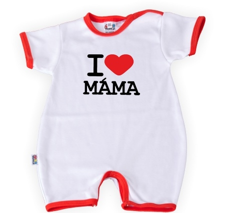 Baby Dejna Body kr. rukáv s nohavičkama I Love Máma, vel. 86, K19