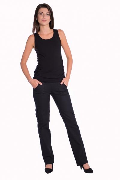 Be MaaMaa Bavlněné, těhotenské kalhoty s kapsami - černé, vel. XXL