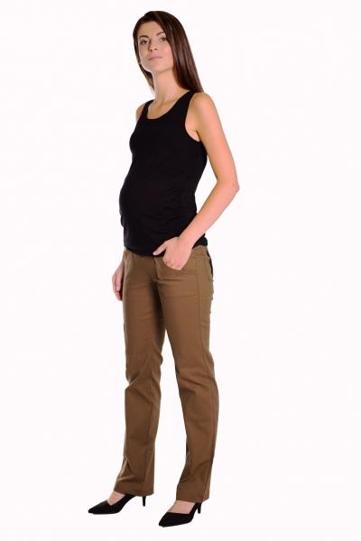 Bavlněné, těhotenské kalhoty s kapsami - khaki, vel. L