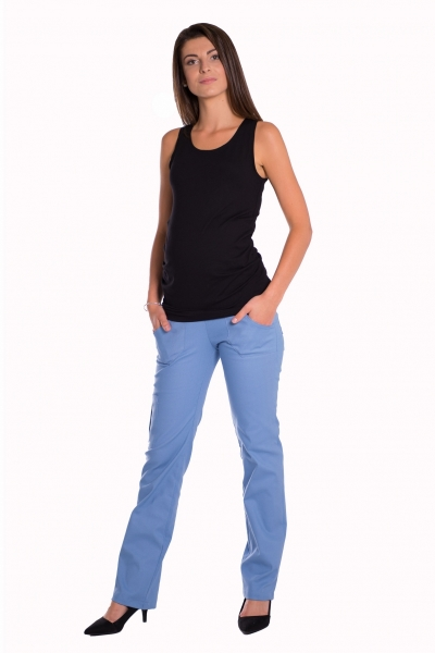 Be MaaMaa Bavlněné, těhotenské kalhoty s kapsami - sv. modré , vel. L
