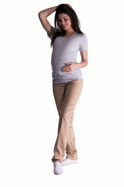 Bavlněné, těhotenské kalhoty s regulovatelným pásem - béžové