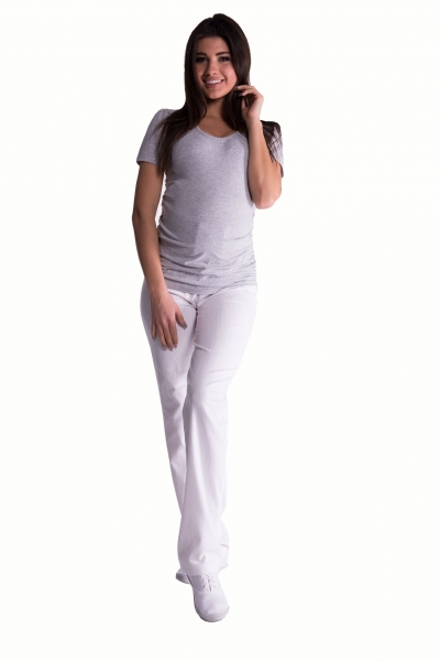 Be MaaMaa Bavlněné, těhotenské kalhoty s regulovatelným pásem - bílé, vel. Mvel. M (38)