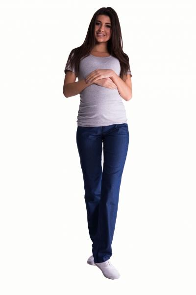 Bavlněné, těhotenské kalhoty s regulovatelným pásem - tm. modré, vel. L