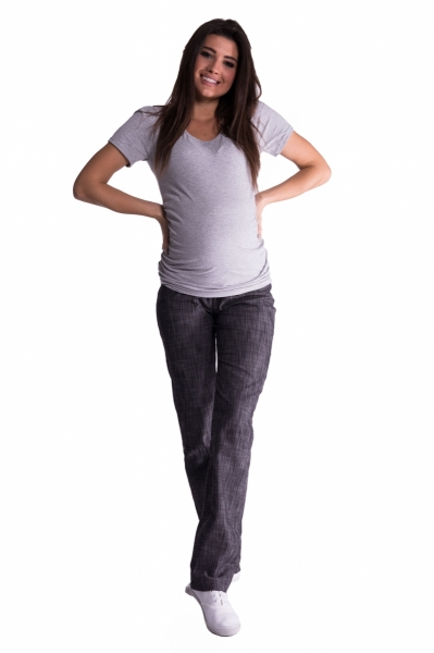 Bavlněné, těhotenské kalhoty s regulovatelným pásem - černé, vel. XXL
