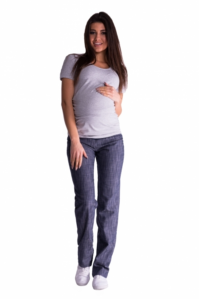 Bavlněné, těhotenské kalhoty s regulovatelným pásem - granát, vel. L