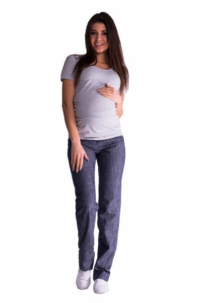 Bavlněné, těhotenské kalhoty s regulovatelným pásem - granát, vel. XXL