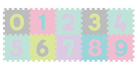 BabyOno Pěnové puzzle Čísla - 10ks, pastelové