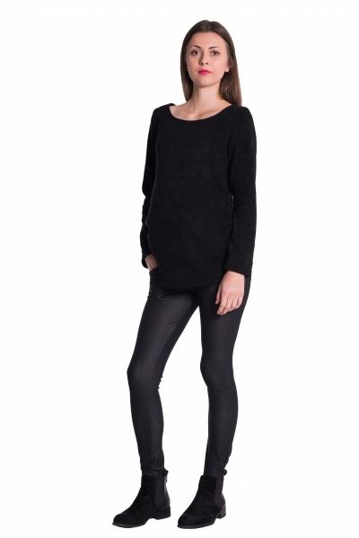 Těhotenské legíny s pásem a kapsami - černé, vel. XL