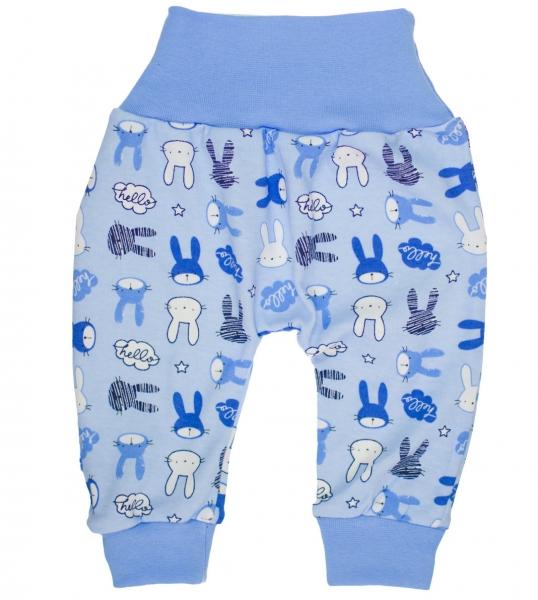Bavlněné tepláčky Zajíčci vel. 80 - modré