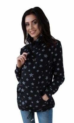 Be MaaMaa Těhotenská a kojící mikina s roláčkem - černá, potisk hvězdičky, vel. XL