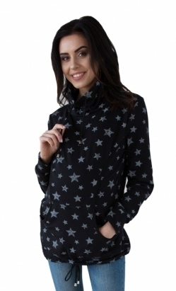 Be MaaMaa Těhotenská a kojící mikina s roláčkem - černá, potisk hvězdičky, vel. XXL