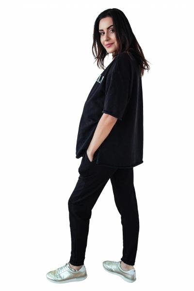 Be MaaMaa Těhotenské tepláky/kalhoty slim - černé, vel. S