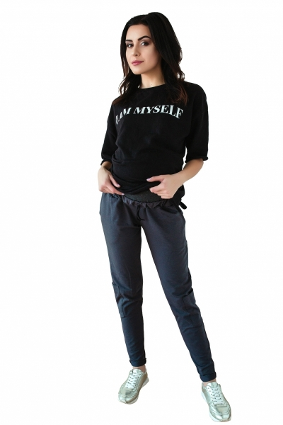 Be MaaMaa Těhotenské tepláky/kalhoty slim - grafit, vel. M