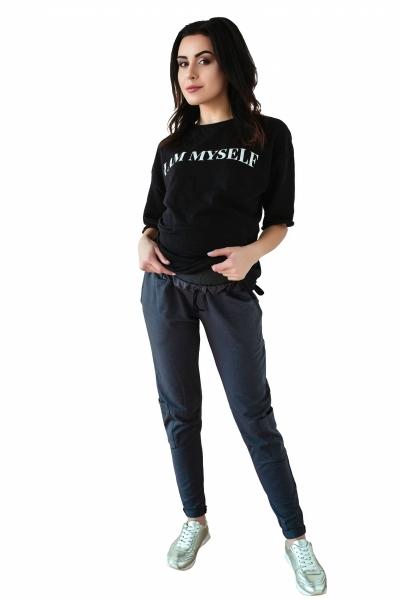 Be MaaMaa Těhotenské tepláky/kalhoty slim - grafit, vel. XL