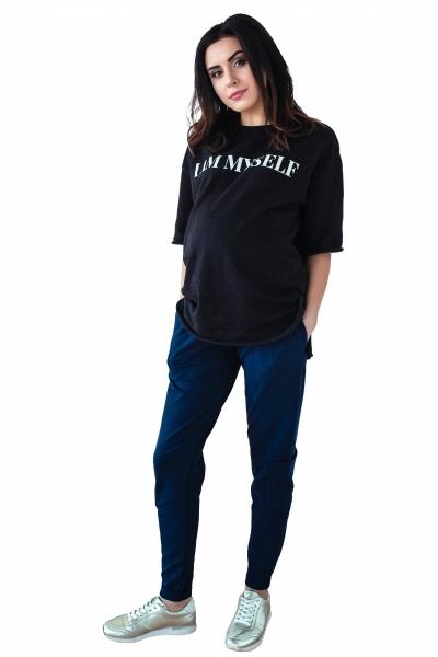 Be MaaMaa Těhotenské tepláky/kalhoty slim - granát, vel. M