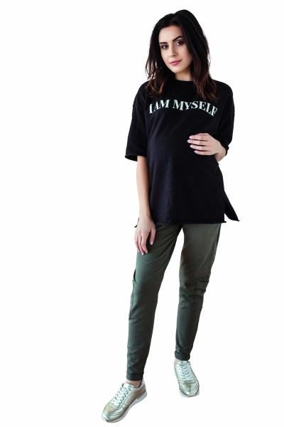Be MaaMaa Těhotenské tepláky/kalhoty slim - khaki