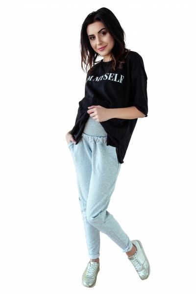Be MaaMaa Těhotenské tepláky/kalhoty slim - šedý melírek, vel. XL