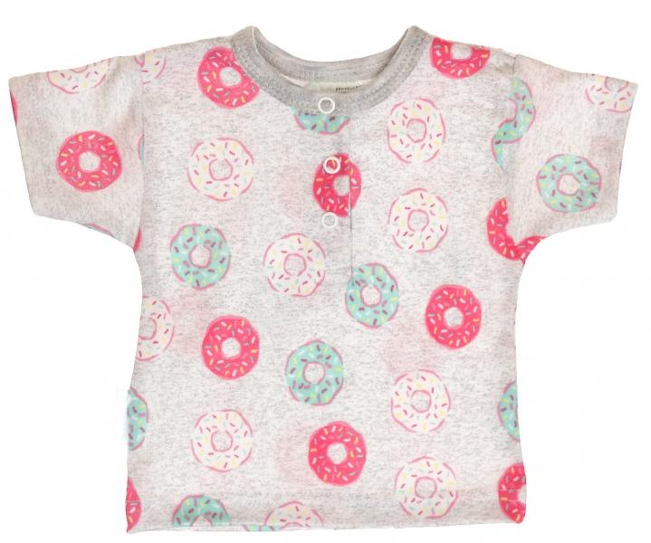MBaby Bavlněné Polo tričko s krátkým rukávem Donuty vel. 68 - šedével. 68 (4-6m)