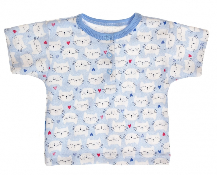 MBaby Bavlněné Polo tričko s krátkým rukávem Kočičky vel. 74 - modré