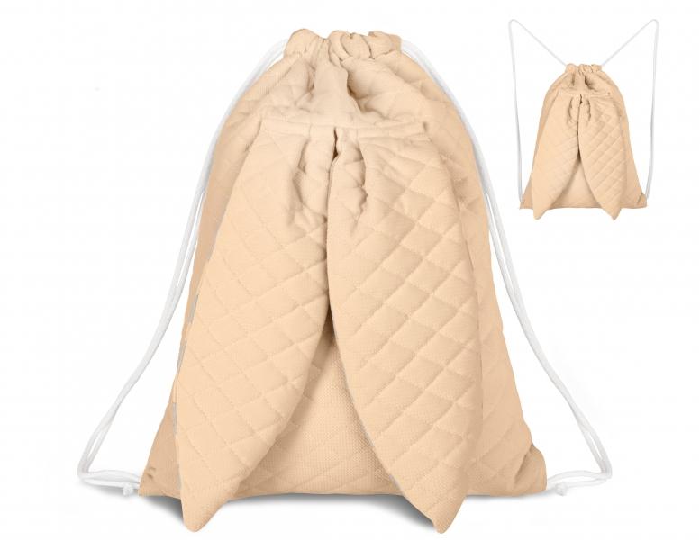 Stylový dětský batůžek Velvet lux Miminu prošívaný - meruňkový