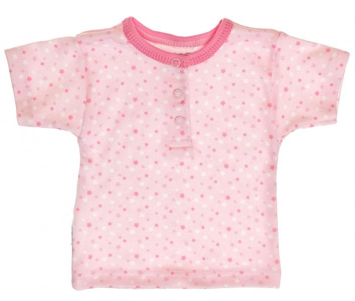Bavlněné Polo tričko s krátkým rukávem vel. 86 Hvězdičky - růžové