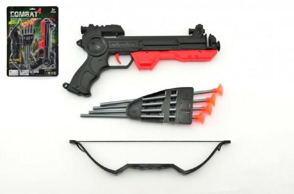 Pistole/kuš s lukem na přísavky plast 27cm asst 2 barvy na kartě