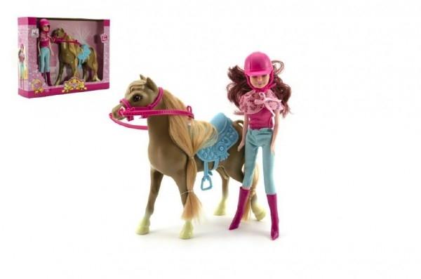 Kůň česací s doplňky + panenka žokejka plast v krabici 34x27x7cm