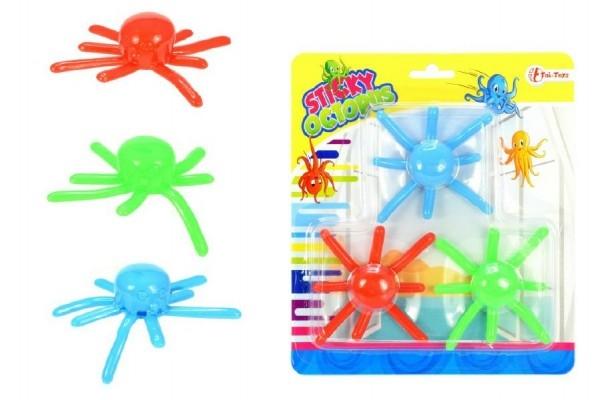 Chobotnice sliz lezoucí po skle 3ks plast 8cm na kartě