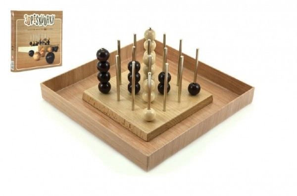 Piškvorky 3D podstavec + kuličky dřevo/kov hlavolam společenská hra v krabici 22x22x3