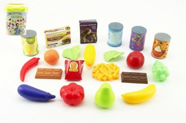 Ovoce a zelenina 60ks/Kuchyňské nádobí 42ks + doplňky plast asst 2 druhy v plastovém